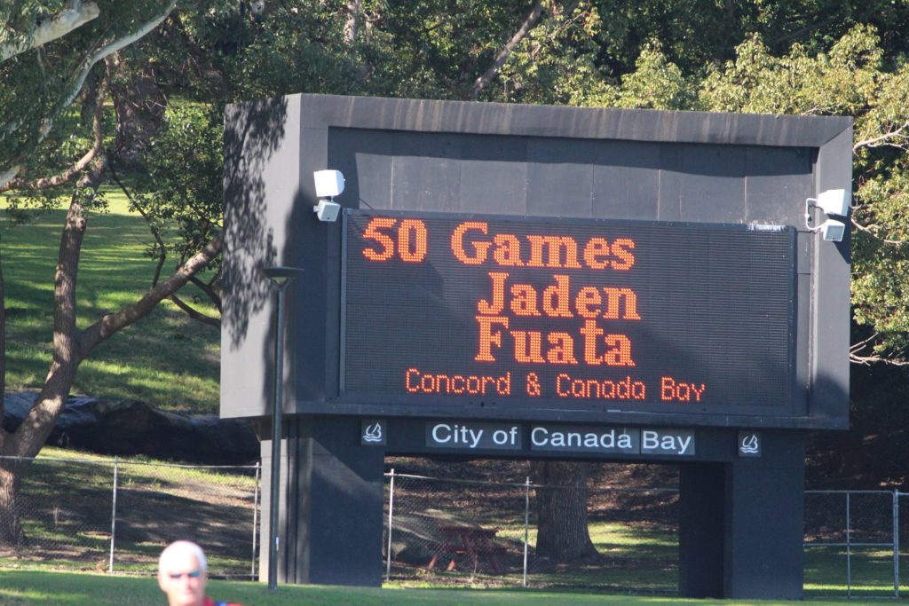 Scoreboard with Jaden's 50 game milestone