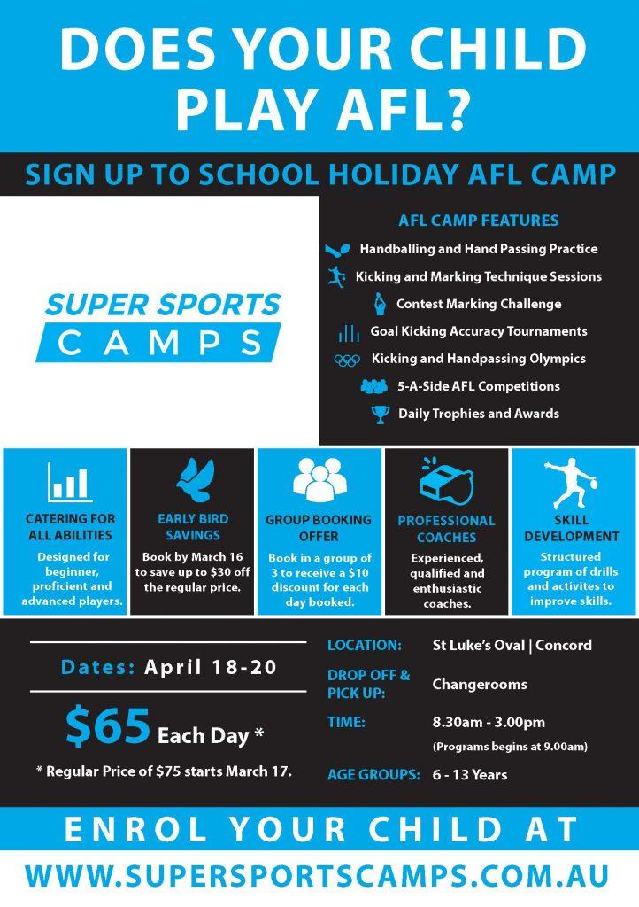 AFL School Holiday Camp Flyer