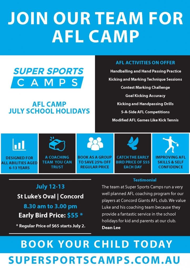 Super Sports Camps AFL flyer